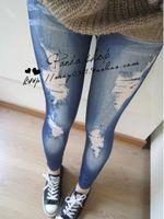 Wholesale Denim Look Tights - Wholesale- Printed Big Hole Faux Denim Jeans Looks Women's Skinny Leggings Pencil Skinny Pants Slim Elastic Stretchy Tights