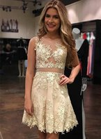 Wholesale Homecoming Dress Bodice - 2017 New Champagne Mini Short Homecoming Dresses Lace Appliqued Illusion Bodices Short Prom Dresses Formal Party Cocktail Dresses Cheap