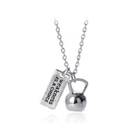 Wholesale Kettlebell Jewelry - Strong Is Beautiful Weakness is a choice Weighted Kettlebell Charm Pendant Necklace Sporty Fitness Jewelry