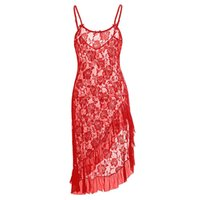 Wholesale Plus Size Lingerie for women Black Red White colors Sexy Lace Gown elegance Mermaid long dress with Lace Ruffles trim S XL Sleepwear