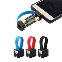 Wholesale Small Battery Usb - Mini Portable Micro USB Charger 2 AA Battery powerd Emergency Smallest phone Charger For iPhone Samsung xiaomi Huawei LG Android