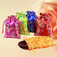 Cheap Floral Silk Brocade Jewelry Pouch Petit Drawstring Cloth Gift Packaging Sacs Trinket Coin Pocket Wholesale 50pcs / lot