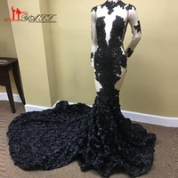 Wholesale 3d flower material for sale - Group buy Amazing African Custom Made High Neck Evening Prom Dresses Long Sleeves D Flower Material Sexy Women Party Gown Liyatt