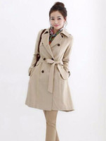 Wholesale Women fall and winter in Europe and the fashion trend in han edition of the new big yards double breasted trench coat S xl
