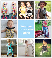 Wholesale Baby Girl Camo - 9 Style Summer Baby Jumpsuit Kid Clothing Camo Bear X Flower Flag Ins Pajamas Romper Suspender Trousers Pants Cotton Boy Girl Outfit 0-24M