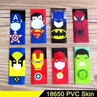 Wholesale Shrinkable Sleeve - 11Style Superman Batman Captain America 18650 battery PVC skin Sticker 70mm Heat Shrinkable Tubing Wrap VTC5 VTC4 LG HG2 Cover Sleeve