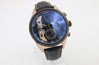 ingrosso orologio digitale quadrante nero-Vendita calda di lusso quarzo OS Mens Watques quadrante nero cinturino in pelle chiusura originale orologio digitale Montre Homme