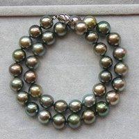 colar elegante preto venda por atacado-NEW FINE PEARL JÓIAS elegante 10-11mm tahitian rodada colar de pérola verde preto 18 polegada