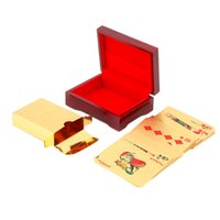 Outad 24k feuille d'or plaqué cartes à jouer Texas Hold 'Em carte de poker Funny Gambling Game Party Pokerstars avec boîte cadeau de Noël