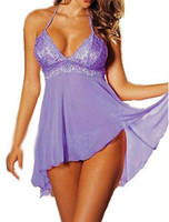 lenceria púrpura xl al por mayor-SEXY Sheer Purple Babydoll Lingerie Nighty Plus Size AU
