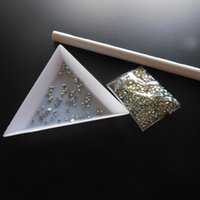 Wholesale Dappen Dish Nail Art Palette - Wholesale- dotting set dotting pencil point drill pen Palette Dish Dappen Dish 2mm AB rhinestones nail decaration nail art tool