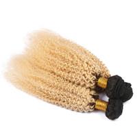 tecido afro 1b venda por atacado-Dois Tons 1b 613 Cabelo Humano Loiro Tece Afro Kinky Curly Ombre Cabelo Tece Extensão Do Cabelo Virgem Malaio 3 Pçs / lote