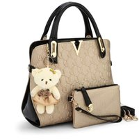 Wholesale Toy Compartments - 2 Bags set With bear toy Casual Embossed Handbag Designer Handbag High Quality Women Messenger Bags Shoulder Bags