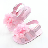 Wholesale Toddlers Girls White Flower Sandals - Infant Baby Girls Floral Sandals Toddler Princess Anti-slip Shoes 2017 Babies Spring Summer Soft clogs childrens shoes