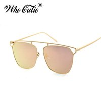 WHO CUTIE 2017 Square Occhiali da sole Cool Vintage Rose Gold Mirror Lente Moda Maschio Femmina Flat Top Occhiali da sole Ray Shades OM406