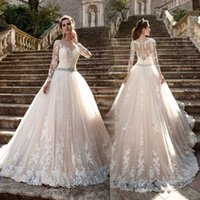 Wholesale castle princess bride - Vestido de noiva Long Sleeves Wedding Dresses Sheer Tulle Back Lace Appliques Wedding Gowns Bead Belt Bride Dresses