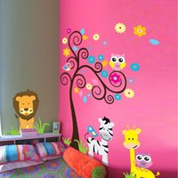 Wholesale nature print paper - 5091 Cute Jungle Animals Wall Stickers Kids Room Decoration Home Decals Owls Giraffe Tree Print Mural Art Cartoon Zoo Poster