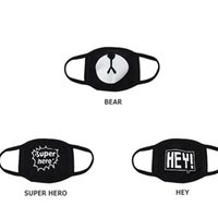 Wholesale Cute Mouth Masks - Black Anti-Dust Cotton Cute Bear Mouth Mask Kpop EXO Chanyeol Chan yeol