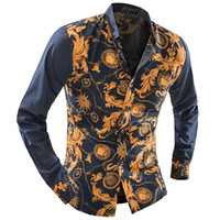 мужская рубашка с воротником оптовых-Wholesale-  Clothing Floral Pattern Men Shirt Patchwork Long Sleeve Casual Slim Fit Shirt Male Social Mens Dress Shirts Blouse Man XXL