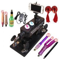 erkek dişi seks makineleri toptan satış-Seks AŞK Makinesi 6 cm Geri Çekilebilir Kadın ve Erkek Masturbator, Birçok Yapay Penis Aksesuarları ile otomatik Seks Makineli Tüfek Cinsel İlişki Robotu
