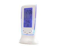 Wholesale Desk Clock Thermometer - Fashion Desk Led Digital Clock Alarm Clock Desktop Clock With Calendar Thermometer Display Date Birthday Remind for Home Office Daily Life