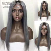 Wholesale straight lace front two tone - 1b grey Ombre Human Hair Full Lace Wig Straight Two Tone Glueless Lace Front Full Lace Wigs Ombre Virgin Hair Wig