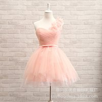 Wholesale Homecoming Dresses Mini One Shoulder - In Stock Pink Tulle Mini Homecoming Dresses One Shoulder Handmade flowers Mint Short Prom Party Gowns 2016 Cheap Real Image