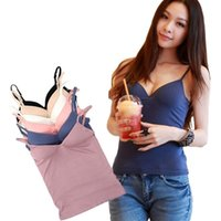 Wholesale Top Bra For Sleeping - Fashion Women's Seamless Camisole Modal Tank Top Suspenders Vest with Bras M L for Running Sleeping Yoga