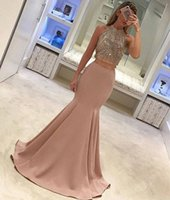 Wholesale Gorgeous Purple Beaded Silk Dress - 2017 Gorgeous Pearl Pink Two Piece Prom Dresses Elegant High Neck Sleeveless Sexy Back Crystal Beading Mermaid Evening Gowns