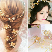 Wholesale Gold Leaves Hair Accessories - Hot sale handmade goden leaves bridal jewelry sets for women and girls hairbands earrings hairpins three sets wedding hiar accessories