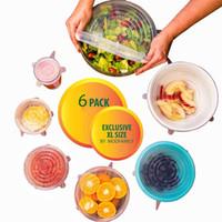 Wholesale Plastic Food Wrap Film - 6pcs lot silicone Cling Film Seal Vacuum Food Magic Wrap Multifunctional Transparent Food Fresh Keeping Plastic Wrap