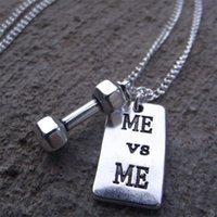 Wholesale Crossfit Accessories - Fitness Gym Dumbbell Barbell Me VS Me Weightlifting Crossfit Necklace Body Building Men Women Sport Jewlery Accessories
