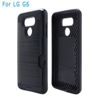 Wholesale Iphone V5 - For Samsung J2 Prime LG G6 K7 K10 V1 V5 V20 Armor Hybrid Case Brushed Dual Layered Shockproof Cover Credit card card slot