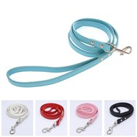 Wholesale Pink Leather Dog Collar Large - Good Quality Leather Pet Plain Leash Small Large Dog Cowhide Lead Rope Fashion Dog Training Leash Pink Black Blue White Red Color 10PCS LOT