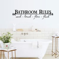 Wholesale Water Decal Sale - Wall Sticker English Bathroom Rules Funny Kids Reminder Decoration Art Decal Water Proof Removable Stickers Hot Sale 2 5xp F R
