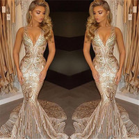 Wholesale purple luxury crystal beaded dress online - 2018 New Luxury Gold Prom Dresses Mermaid V Neck Sexy African Prom Gowns Vestidos Special Occasion Dresses Evening Wear
