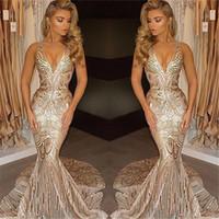 26w robes d'occasion spéciale achat en gros de-2018 Nouveau De Luxe Or Robes De Bal Sirène Col En V Sexy Africain Robes De Bal Robes Occasion Spéciale Robes De Soirée
