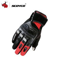 Wholesale Scoyco Gloves Waterproof - Wholesale- SCOYCO Men's Genuine Cow Leather Motorcycle Touch Screen Gloves Waterproof Windproof Warm Winter Motorbike Racing Riding Gloves