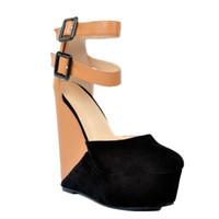 Wholesale Two Piece Heels - Zandina Womens Fashion Handmade 15cm Two-piece Patchwork Buckle Straps Wadge Heel Platform Sandals Shoes Brown XD071