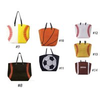 Wholesale 7 Types Softball baseball basketball football canvas bags new fashion women s sport handbag best quality with fast delivery