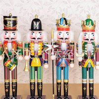 Wholesale Christmas Decoration Nutcracker - Walnut Soldier Pure Hand Drawing Wooden Nutcracker Puppet Multi Color Toys Christmas Gift Self Painted Craft Decoration Doll 13 5yf A R