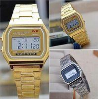 niño nuevo reloj deportivo al por mayor-Nuevos niños Boy Girls relojes para hombre de acero inoxidable clásico Retro reloj digital de oro de la vendimia y plata de alarma digital A159W relojes deportivos