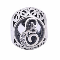 Wholesale Letter E Charm - European Jewelry Vintage E Charms Beads 925-Sterling-Silver AAA CZ Openwork Alphabet Letters E Beads Diy Brand Logo Bracelets Making BF115