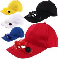 Wholesale Hat Cap Solar Power - Solar Power Cap Suntan Hat Cooling Cool Fan For Sport Peaked Caps Outdoor Golf Baseball Fishing Snapbacks Baseball Hats 50pcs MK56