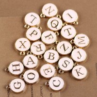 Acheter Bracelets de charme initiaux-Manteau bracelet 52PCS Pink Color Enamel Gold Tone Alloy Initial A-Z Letter Beads 12 * 15MM Double Faces Oil Drop DIY Jewelry Floating Charm