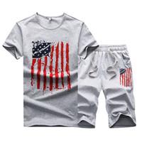 Wholesale Slim Fit Suit Men Set - Men T-Shirt +Shorts Casual Suit Summer New Men's Slim Fit Leisure Short Sleeve Print T Shirt Men Set USA T-Shirt and Shorts
