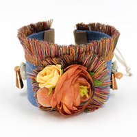 Wholesale Friendship Bracelet Handmade Flowers - Wholesale-Fashion Bracelets Handmade Bohemian Colorful Tassel Flowers Jewelry Wide Friendship Bracelet for Woman FN033