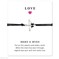 Wholesale Bow Arrow Bracelets - Wish Bracelet With Gift Card Silver Bow And Arrow Charm Bracelets & Bangles for Women Girls Adjustable Friendship Statement Jewelry