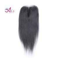 derece 7a saç düz toptan satış-Promosyon Sınıf 7A Dantel Kapatma 4 * 4 Brezilyalı Saç Doğal 1B Ipeksi Düz Saç Örgüleri Üst Kapaklar Boyanabilir Saç Uzantıları
