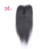 Wholesale middle part hair weave for sale - Promotion Grade A Lace Closure Brazilian Hair Natural B Silky Straight Hair Weaves Top Closures Dyeable Hair Extensions